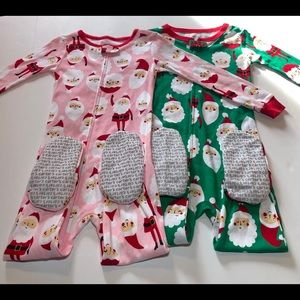 NWT TWIN Christmas Footed Pajama Set size 4T